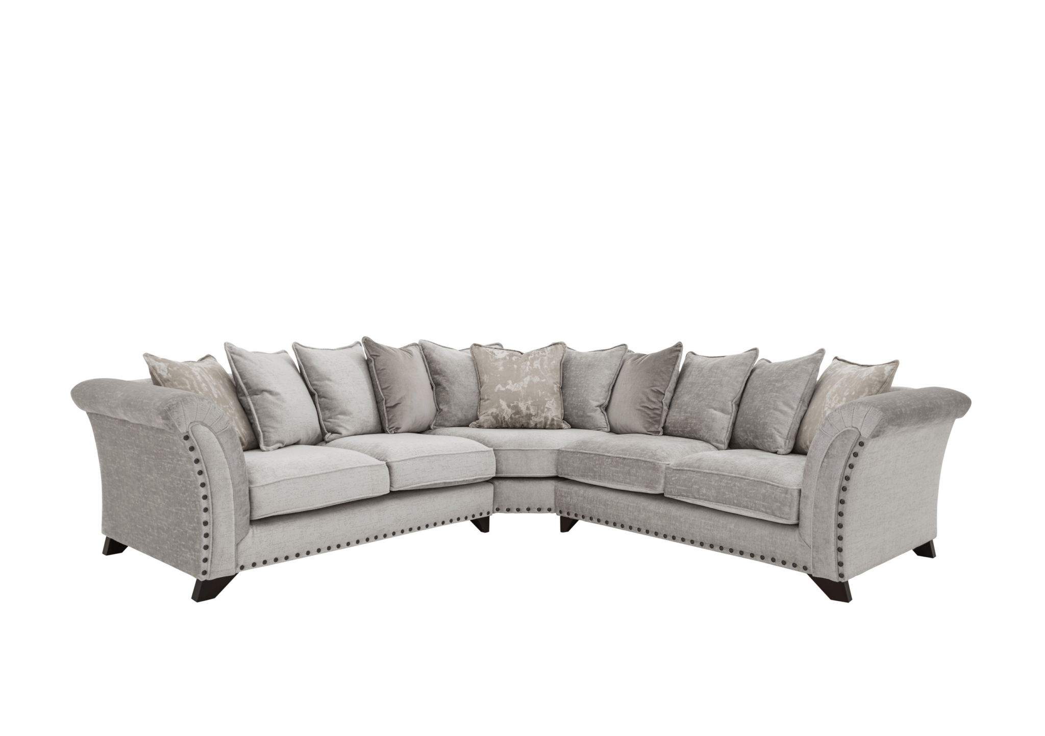 KNF Holly Large Pillow Back Fabric Corner Sofa with Studs
